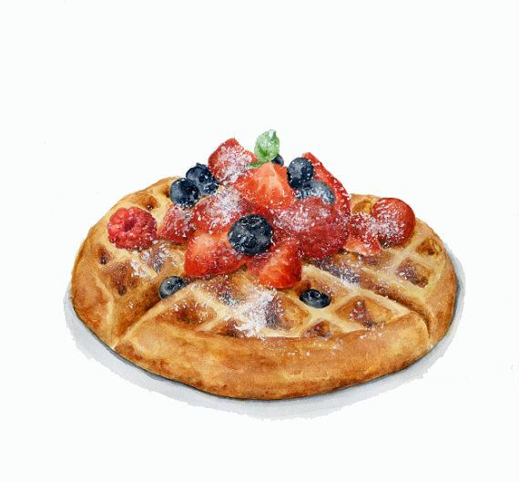 Swiss Waffles with Berries - love the powdered sugar dusting affect.  ORIGINAL Painting (Dessert Illustration, Still Life, Watercolour Food Wall Art)