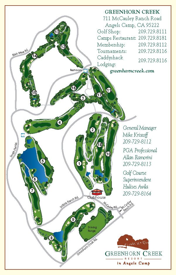 Greenhorn Creek Resort & Golf Club - Sierra Nevada Gold Country Golf Course Details