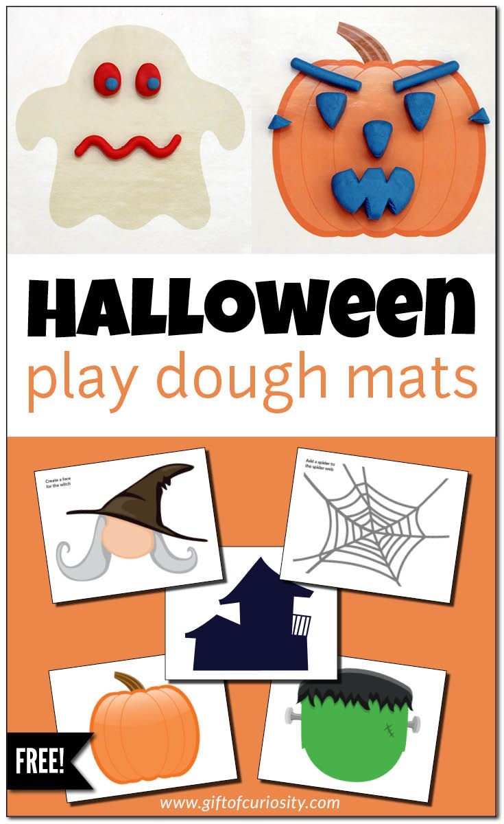 Free printable Halloween play dough mats stimulate creative, imaginative Halloween play that develops children's fine motor skills and promotes sensory play. {free Halloween printable} || Gift of Curiosity