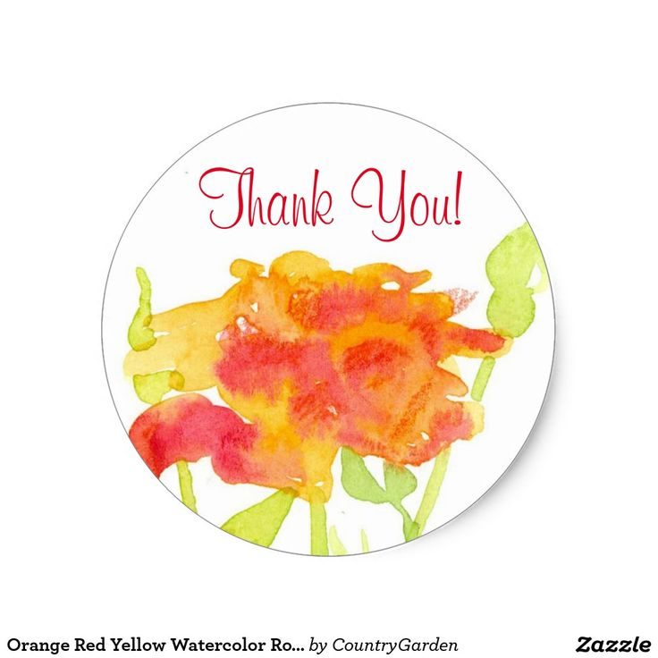 Orange Red Yellow Watercolor Rose Thank You Classic Round Sticker