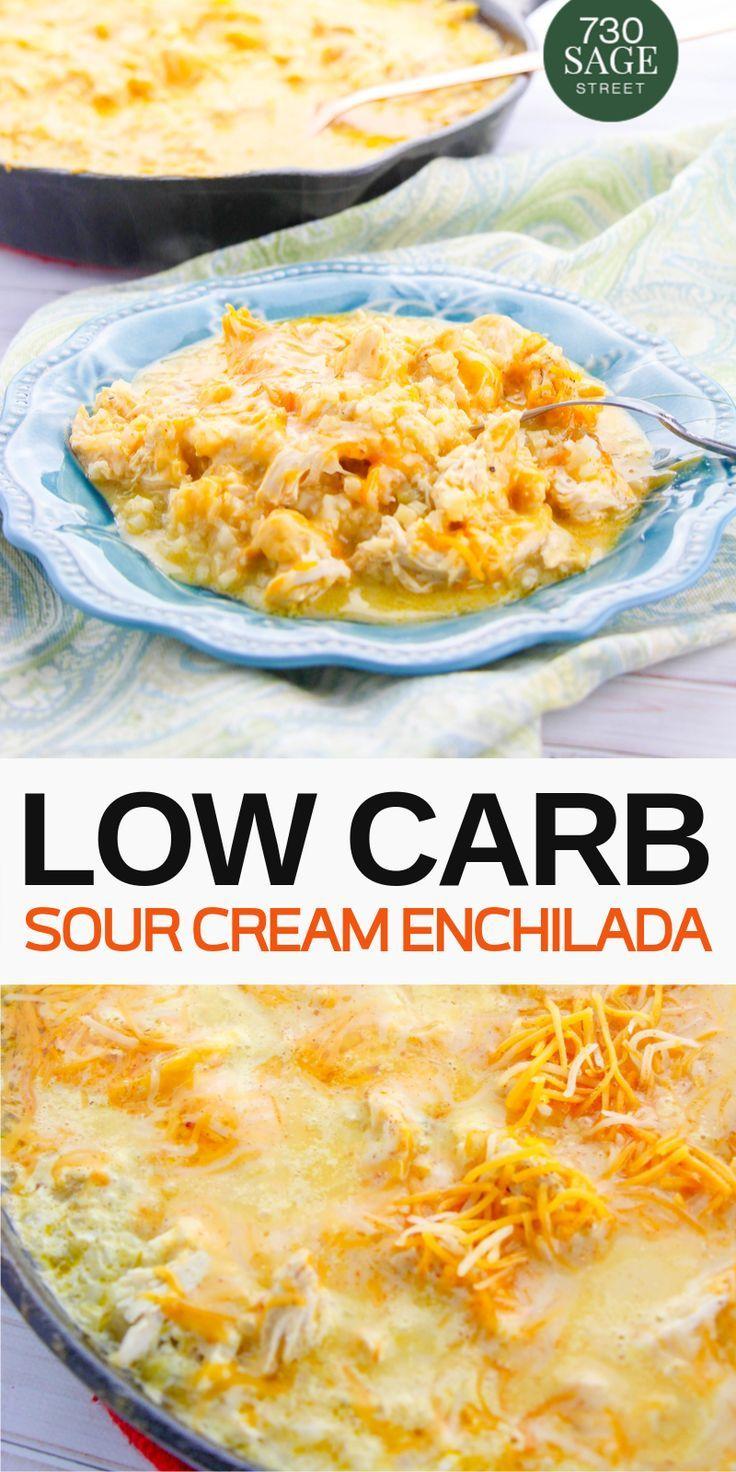 Low Carb Sour Cream Chicken Enchiladas Skillet Recipe With Vegan Option In 2020 Leftover Shredded Chicken Recipe Easy Dinner Recipes Crockpot Sour Cream Enchiladas