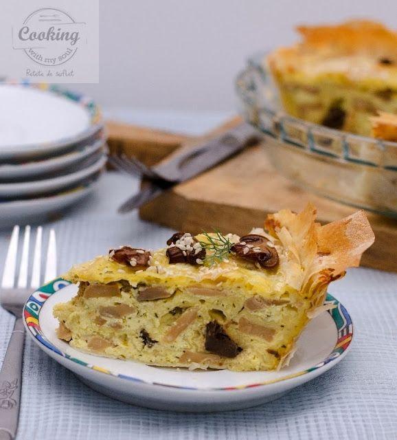Cheese and mushrooms pie / Placinta cu branza si ciuperci