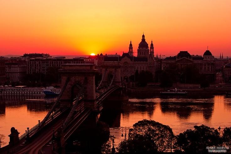 Budapest, the Chain Bridge & the Parliament.