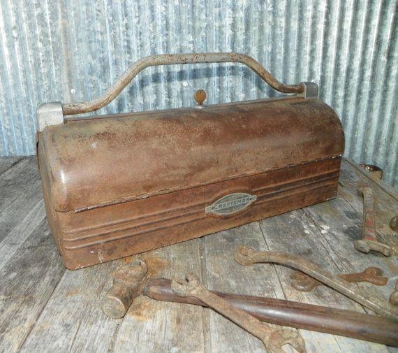 Industrial Vintage Machine age Craftsman Toolbox with by hippiehog, $275.00