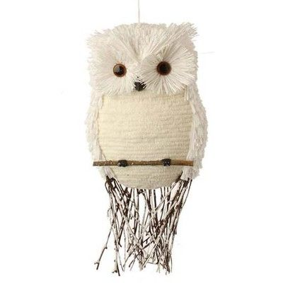 """RAZ Flat Owl on Perch Christmas Ornament  White Made of Foam, Polyester, Twig Measures 15"""" Flat Backed  Snowy owl on a branch perch with twig branches for tail feathers. 2014 RAZ Owl be"""