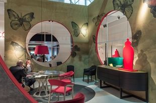 The Potocco stand at the Milan Furniture Fair: a real showcase for Wall&decò, with 13 different graphics selected for the walls