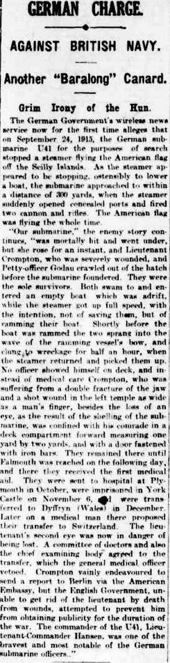 """WWI, 8 Nov 1916; """"German Government  now for the first time alleges submarine U41 stopped a steamer flying the American flag."""" -The Argus, Melbourne"""