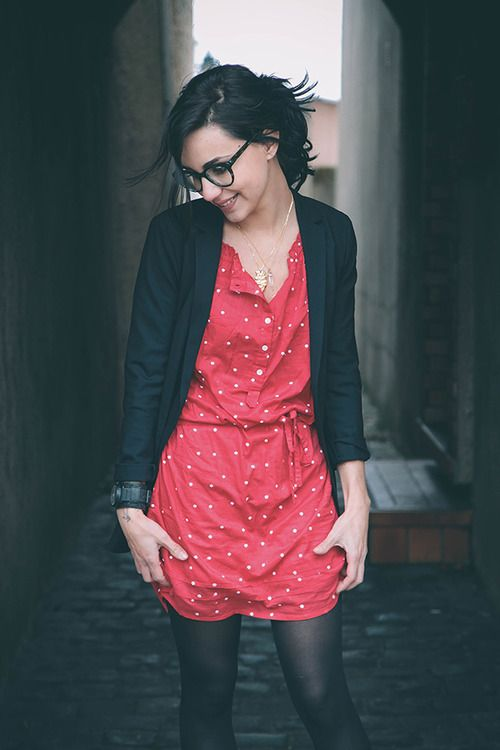 polka dots: Fashion, Black Cardigans, Polka Dots Dresses, Day Outfits, Style, Clothing, Black Tights, Red Polka, Black Blazers