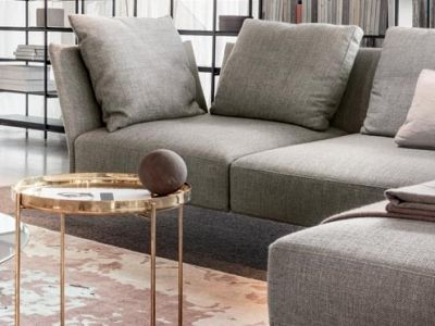 LEMA | The essence of lightness in a timeless sofa. Jermyn by Gordon Guillaumier is a sofa which plays with thicknesses, which like delicate petals open slightly to welcome soft cushions. A seam running along the exterior underlines the structure's curves and is witness to the design's attention to detail