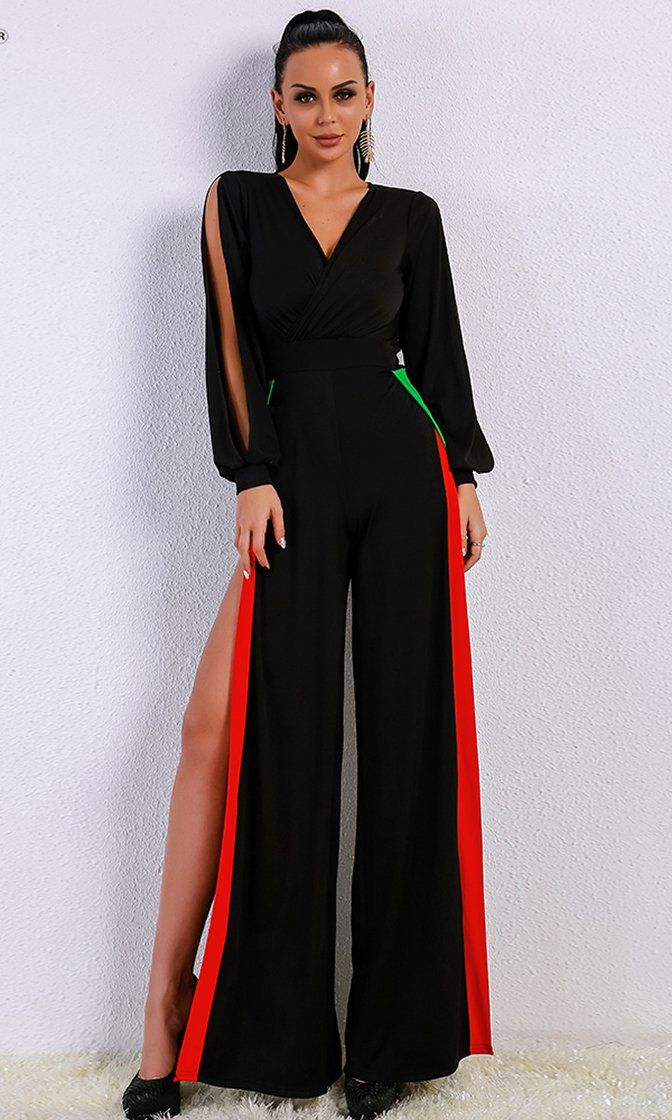 c60784f4067 Risque Love Black Red Green Long Slit Sleeve Cross Wrap V Neck High Slit  Jumpsuit - Sold Out