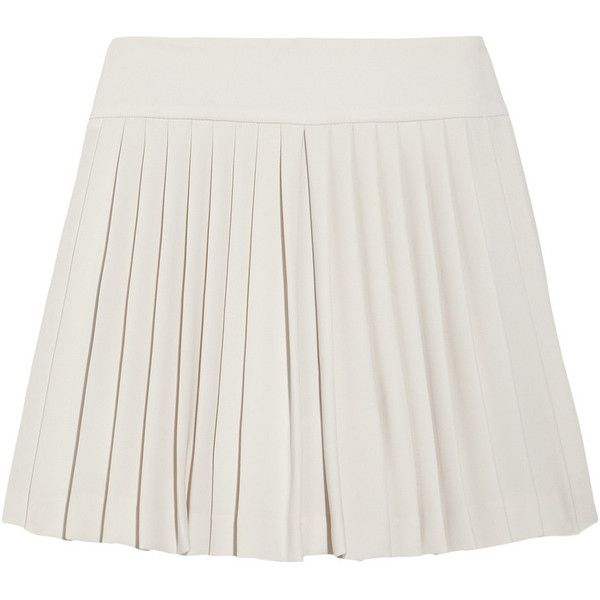 Theory Tria Vamp pleated crepe-jersey mini skirt ($99) ❤ liked on Polyvore featuring skirts, mini skirts, bottoms, saias, white, white jersey, white crepe skirt, white skirt, crepe skirt and short mini skirts