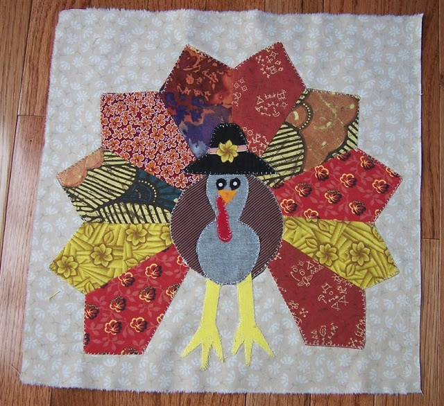 Turkey Quilt Using Dresden Plate Template Autumn