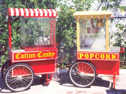 Cotton candy and popcorn machines on display