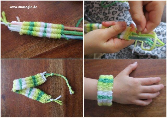 Armband weben mit Strohhalmen