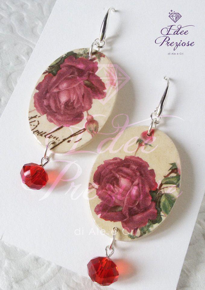 Orecchini in legno decorati con carta floreale, by Idee Preziose di Ale e Cri, 14,00 € su misshobby.com