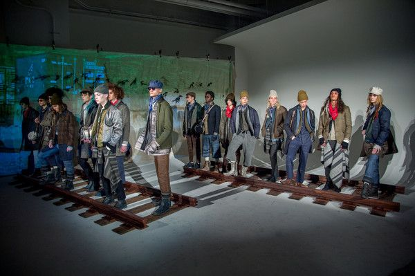 Models pose at the Krammer & Stoudt during NYFW: Men's at Dune Studios Presentation on January 30, 2017 in New York City.