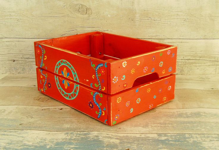 Upcycled wooden box, hand painted wooden box, colorful wooden box, colorful storage box, woodn crate, desk organizer, rustic storage crate by MKKstudio on Etsy