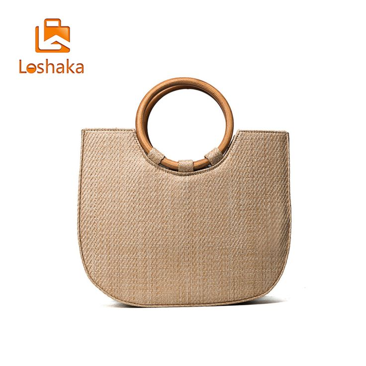 room d?cor LOSHAKA Fashion 2017 Summer Circle Wooden Handle Knitted Handbag Straw Bags for Women Tote bag Crossbody bag Beach bag -*- AliExpress Affiliate's buyable pin. Details on product can be viewed on www.aliexpress.com by clicking the VISIT button