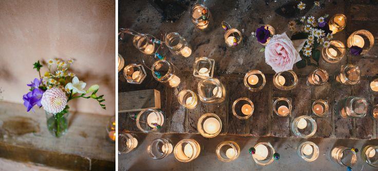 Tea lights in little jam jars.  Photo by Liz Wan Photography