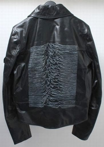 Absolutely beautiful leather jacket (pleather?) with Unkkown Pleasures album art on it