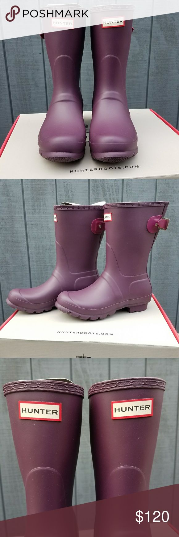 """Hunter Original Waterproof Adjustable Short Boot - Round toe - Molded upper - Pull-on - Removable padded insole - Adjustable back buckle strap - Waterproof - Approx. 9.5"""" shaft height, 14.5"""" opening circumference - Approx. 1"""" heel - Manmade upper and sole Hunter Boots Shoes"""