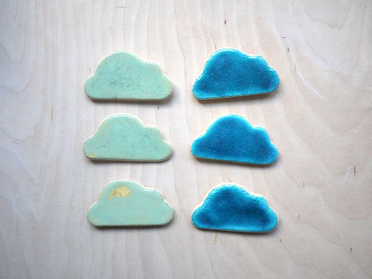 cloud magnets for kids in blue and mint