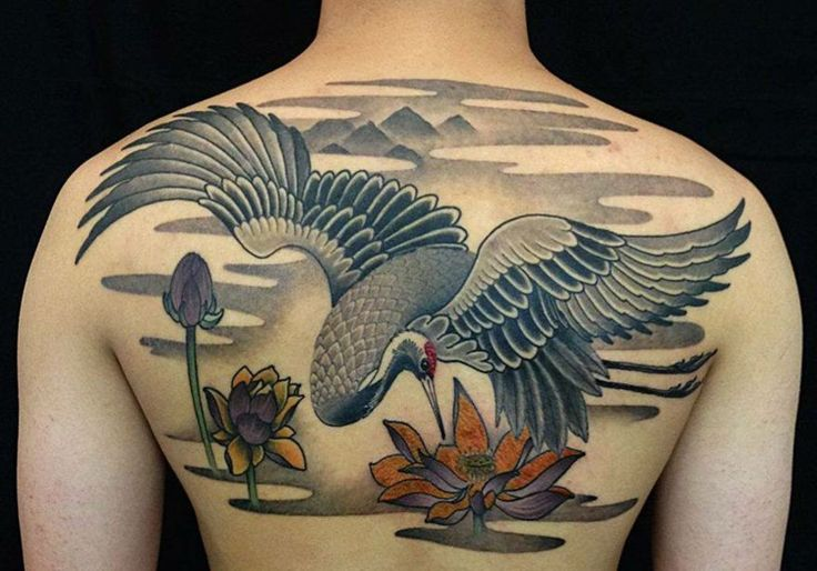 Idee mit Kranich und japanischen Motiven Seerose und Berge