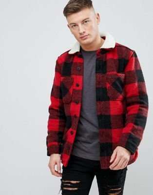 42615f59d7 Pull Bear Checked Sherpa Overshirt In Red Formal Shirts