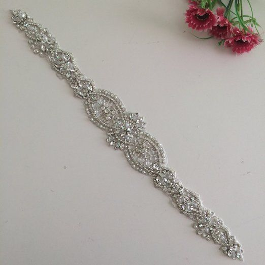 2016 New Crystal and Rhinestone Beaded Applique Bridal Belt Wedding Sash #Handmade