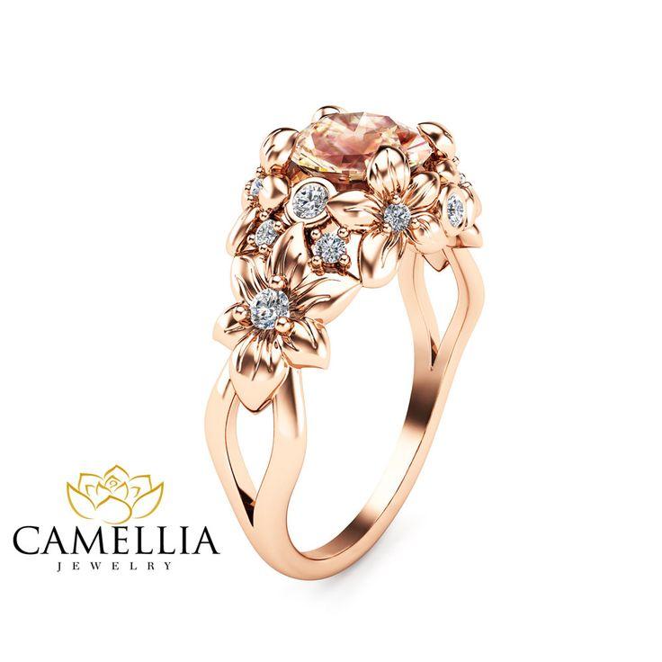 Floral Design Morganite Engagement Ring 14K Rose Gold Flower Ring Unique Peach Pink Morganite Ring Art Nouveau Styled Wedding Ring