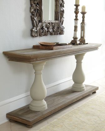Easily make this with 2 boards and 2 columns.Sofa Tables, Entryway Tables, Dining Room, Decor Ideas, Entry Tables, Entry Ways, Custom Table, Sofas Tables, Console Tables