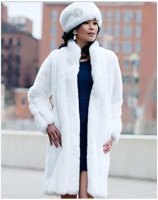"""White Mink Signature Knee-Length Faux Fur Coat. Chic and sophisticated, this 37"""" stroller has a sleek, contemporary cut. With a boned standup collar creating a strong vertical silhouette, it's stunning in White Mink. For more pics go to: www.imageshack.com"""