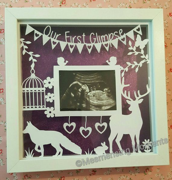 Fox and stag first glimpse framed baby scan papercut https://www.etsy.com/uk/listing/292259975/our-first-glimpse-framed-papercut-for