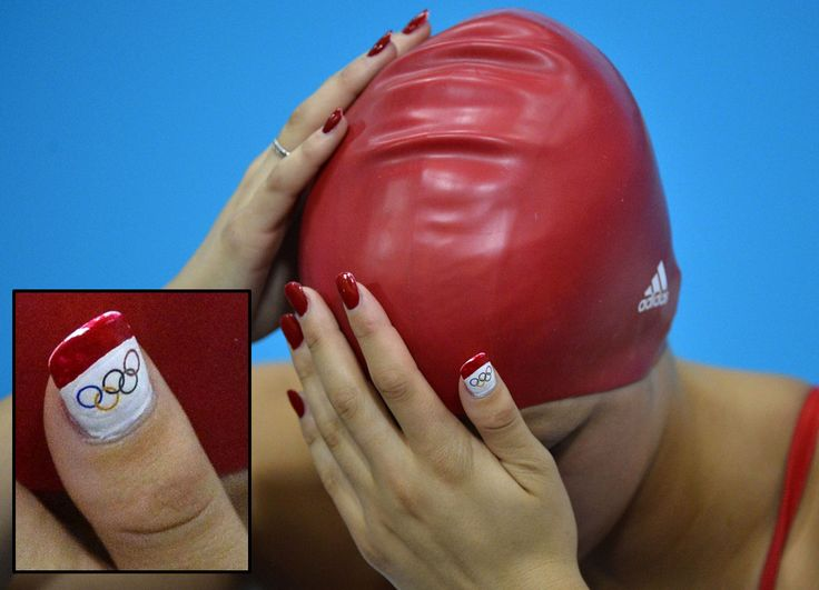 Even Women of Olympic Swimming are sporting their nail art in the 2012 London Games. #AimeeWillmott, Great Britain. - DIY nail art designs.