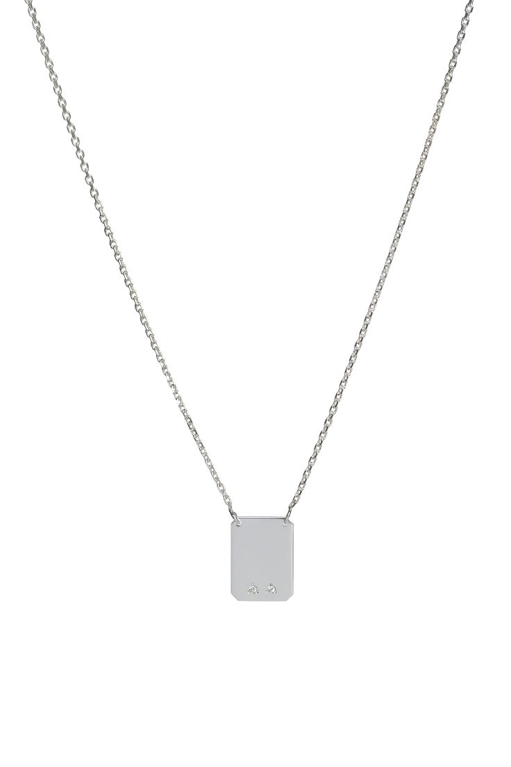 Rectangle pendant with 2 diamonds, on a fine 14k gold chain. Available in white or yellow gold and multiple chain length options.  Free personalized engraving on the back of the pendants. Shop the collection at www.reena.ro or order directly at reena.orders@gmail.com.
