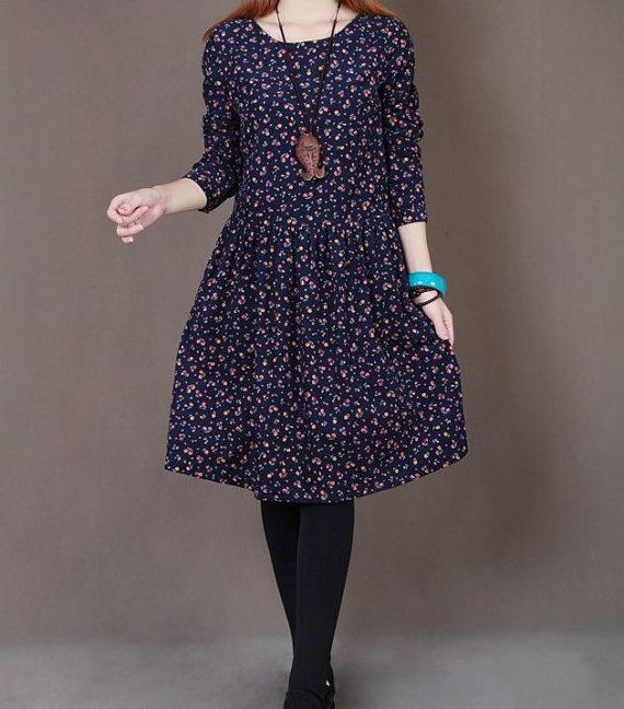 Dark green cotton dress long sleeve dress by originalstyleshop, $58.00