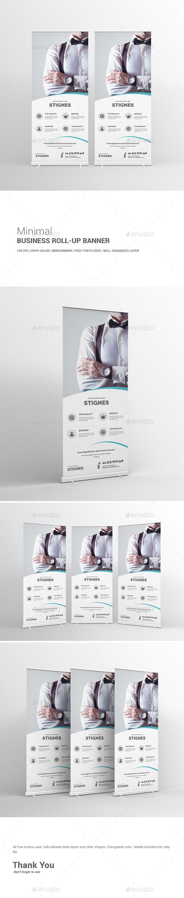 Minimal Business Roll-Up Banner Template PSD #design Download: http://graphicriver.net/item/minimal-business-rollup-banner/13343039?ref=ksioks