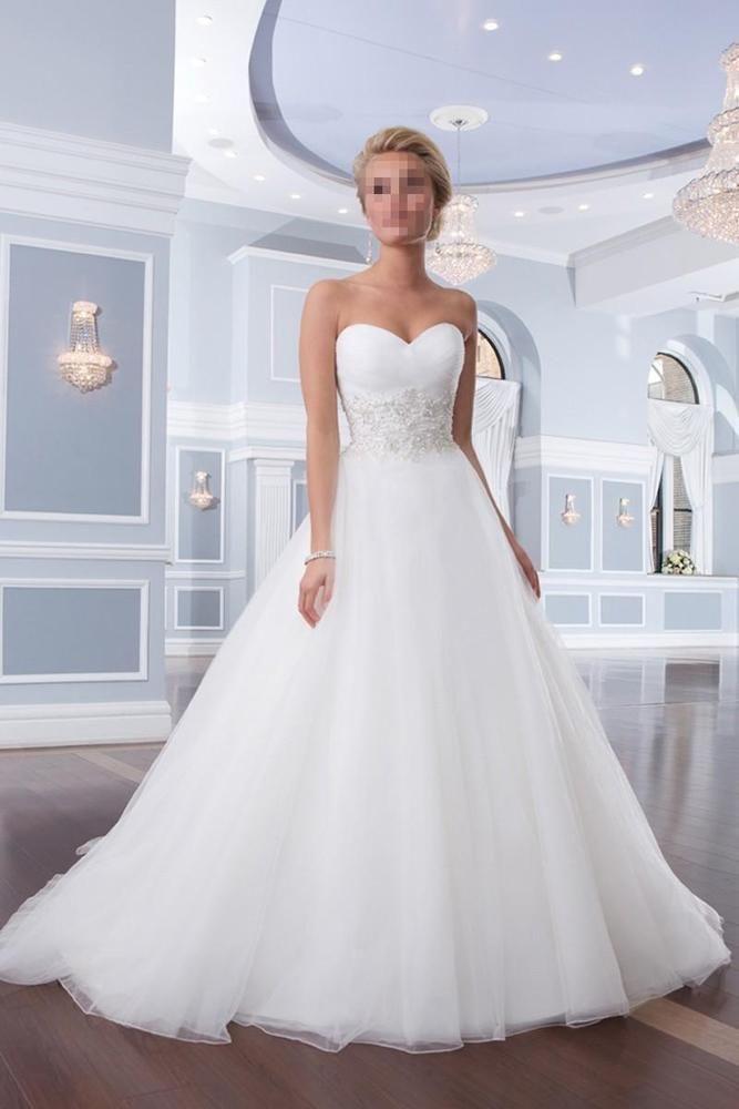 Neu Weiß Herzenform Hochzeitskleid A-Linie Tüll Brautkleid Gr 34 36 38 40 42++++