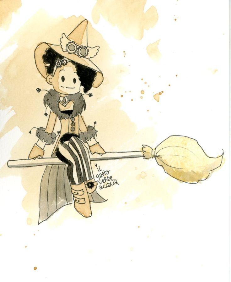 Oggi continua la maratona di inchiostro e caffè che ci porta verso Halloween. La pin up del giorno è Nessa Blackrose, a cavallo della sua scopa da strega :) E tu, hai cominciato il conto alla roves…