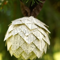 Pinecone Christmas Ornament- Ornament made from dictionary pages, ball shaped ornament, upcycled paper ornament