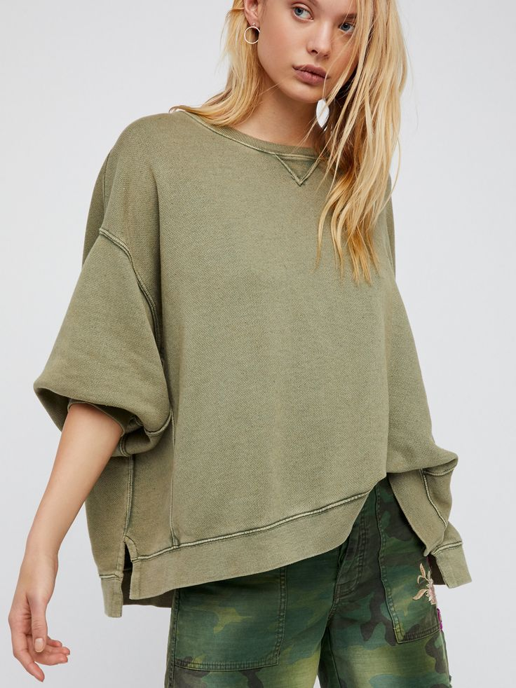 On My Mind Pullover | Slouchy, oversized, and comfy…you'll never want to take this go-to sweatshirt off! * Exposed seam detailing. * Side vents. * Dolman sleeves.