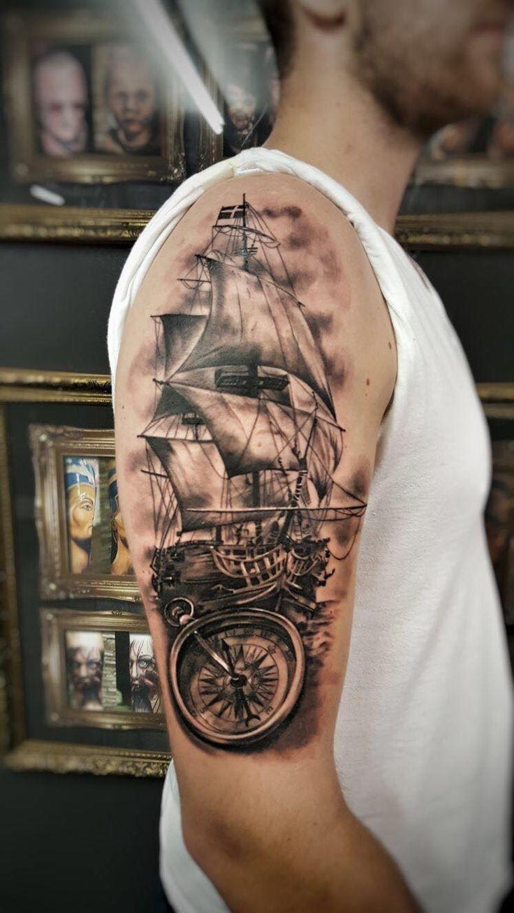 Ship And Compass By Emil Holytrinitytattoo Send Us A Message Call Us On 0 Tattoo Ideen Tatto Tattoo Ideen Nautische Tätowierungen Nautischer Tattoo ärmel