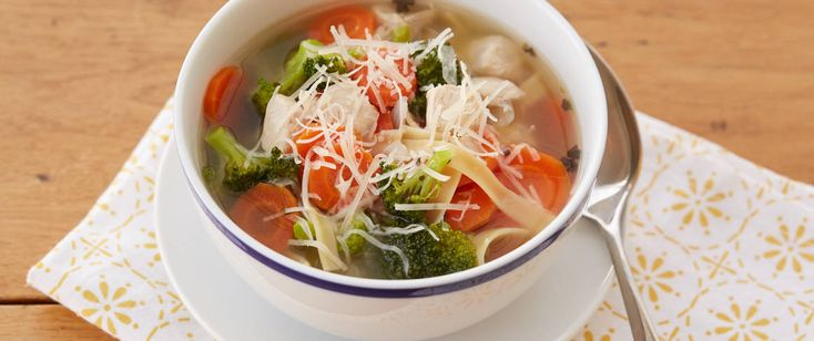 Liven up chicken noodle soup with a dash of basil and garlic-pepper, serve with Garlic Tuscan Pane bread.