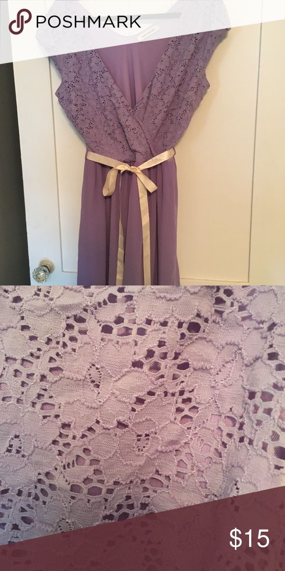 Purple occasion dress This dress has lightweight chiffon-like material on the bottom and eyelet lace on top. I purchased it with this light pink ribbon but could be worn with any number of colors or belts. Wore it to a rehearsal dinner and out to eat with friends. Dresses Midi
