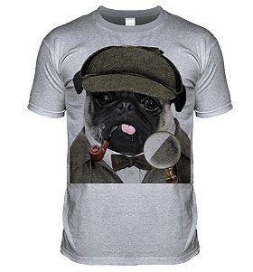 Unisex pug Sherlock t-shirt at www.ilovepugs.co.uk sizes s-xxl