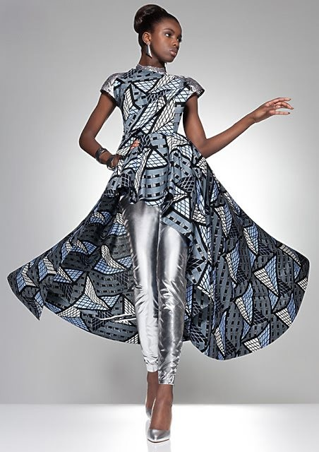 Silver leggings ~DKK ~African fashion, Ankara, kitenge, African women dresses, African prints, African men's fashion, Nigerian style, Ghanaian fashion.