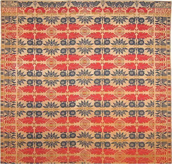 Red, white, blue and American!  Antique American Ingrain Designed By John Kachel