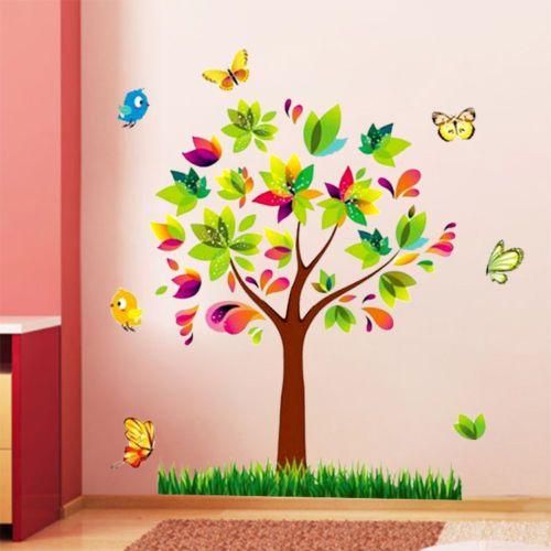 Çocuk Odası Dekorasyonu Renkli Ağaç ve Kelebekler Duvar Dekoru Sticker