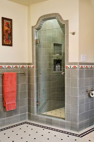 shower with custom tile work - Bathroom Tile Ideas Craftsman Style