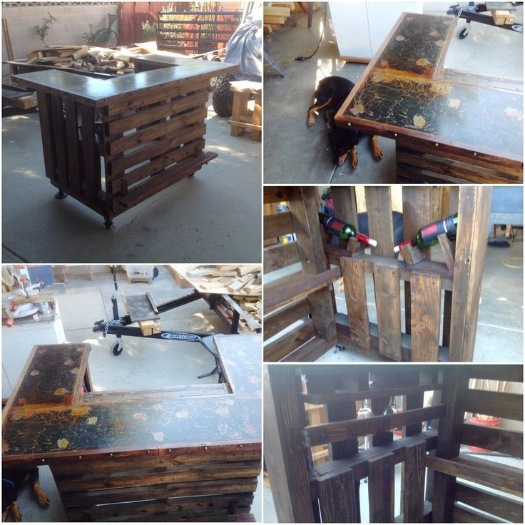 "#PalletBar, #RecyclingWoodPallets I built this Metal-Topped Rustic Pallet Bar was made with approximately four pallets & 1/4"" steel. It measures 57"" x 12"" for the front section, and 24"" x 12"" for both sides.  My Metal-Topped Rustic Pallet Bar: It has two 3"" locking caster whe"
